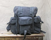 Vintage Black Canvas Military Multiple Pocket Rucksack Backpack