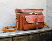 Vintage Distressed Cognac Leather Large Camera Bag by Perrin