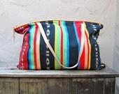 Vintage Large Navajo Cotton Tote bag w/Leather Trim