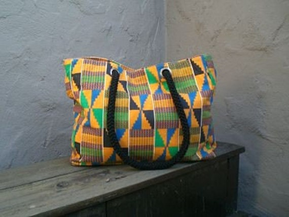 Vintage African Tribal Native Medium Fabric Tote with Rope Handle