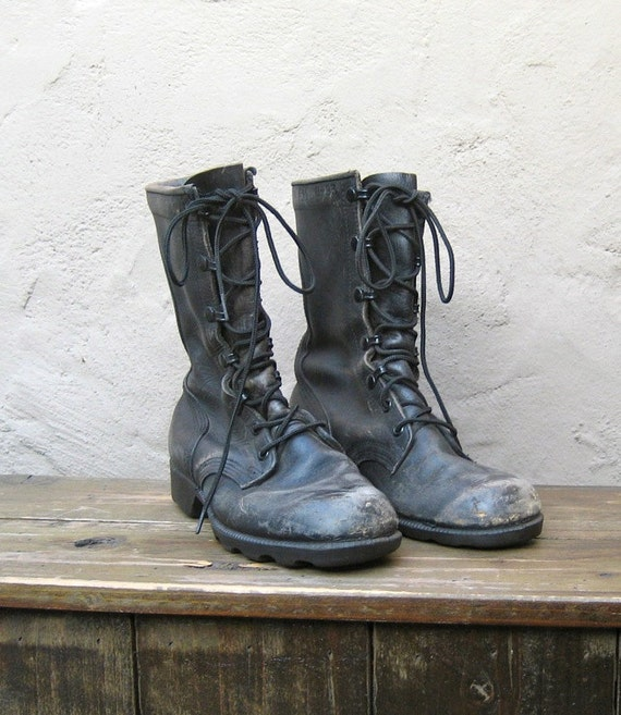 vintage worn in distressed black leather combat boots size