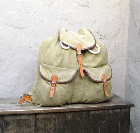 Vintage Giant Green Canvas Rucksack with Camel Leather Detail