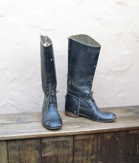 Vintage Distressed Black Leather Laced Ladies Equestrian Cap Toe Riding Boots