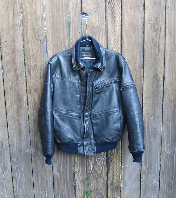 Vintage Worn In Navy Padded Elbow Motorcycle Leather Bomber Jacket Mens Size 42 by Yamaha