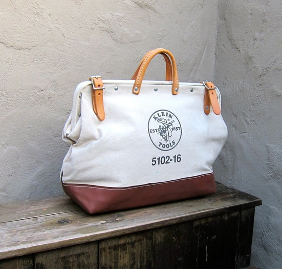 Vintage Large Klein White Canvas Tool Travel Work Bag