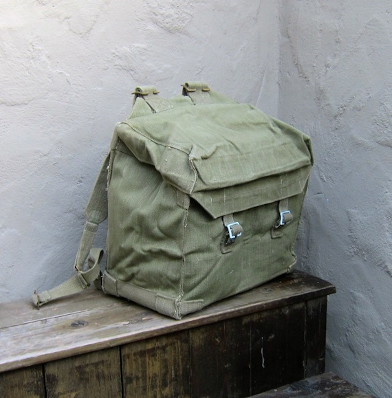 Vintage Military 1950's Rugged Canvas Square Rucksack Backpack