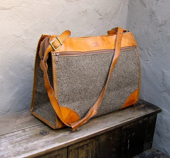 Reserved for planesofpaper Please do not purchase Vintage Hartmann Tweed and Leather Carry On Travel Bag