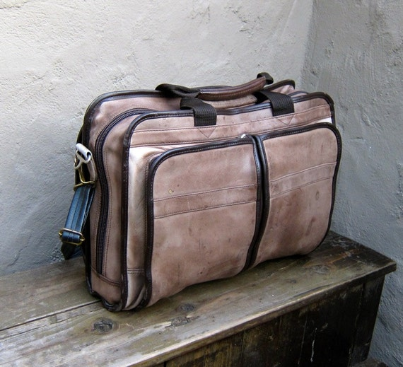 Vintage Distressed Mocha and Chocolate Brown Leather Work Briefcase