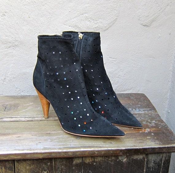 Vintage Sergio Rossi Italian Black Perforated Suede High Heel Booties Size 38.5
