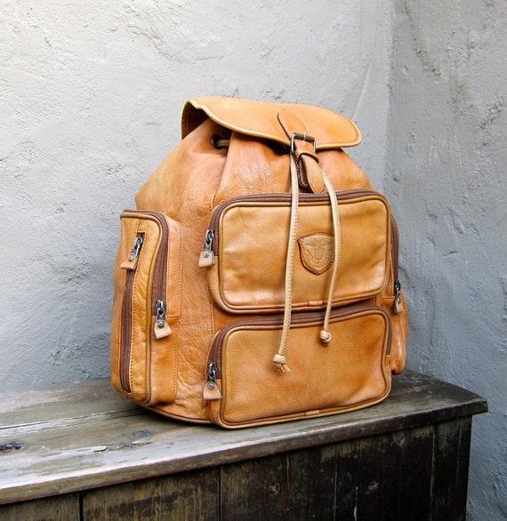 Vintage Tan Leather Multiple Pocket Medium Rucksack Backpack