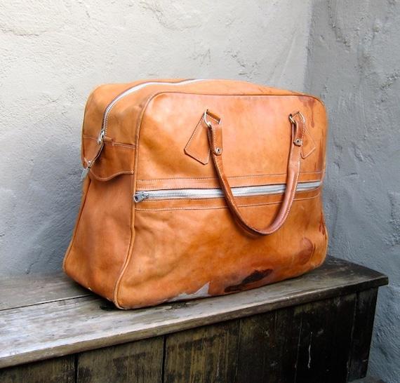 SALE Vintage Distressed Tan Leather Travel Tote Bag
