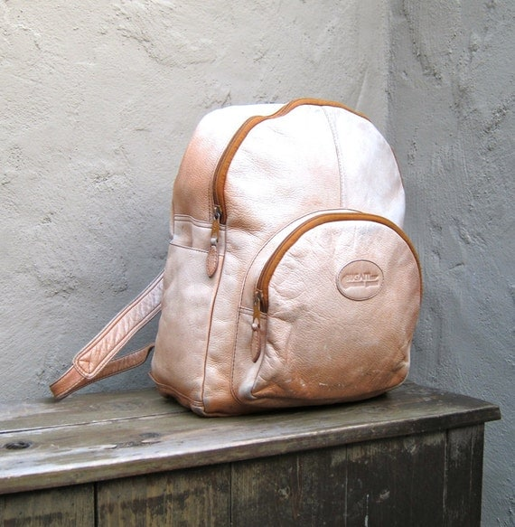 Vintage Distressed Tan Leather Medium Knapsack Backpack