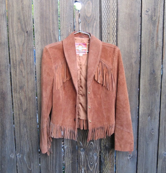 Vintage Fringed Tan Suede Fitted Ladies Size 10 (Small)
