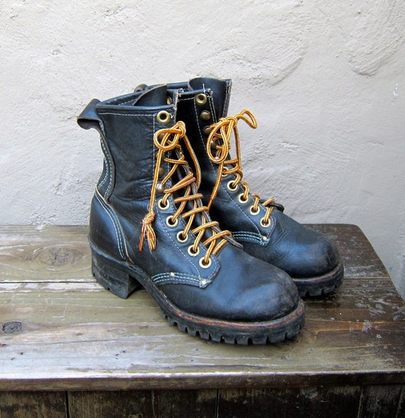 Vintage Distressed Black Leather Lacer Granny Boots Youth Size 4.5, Ladies Size 6.5