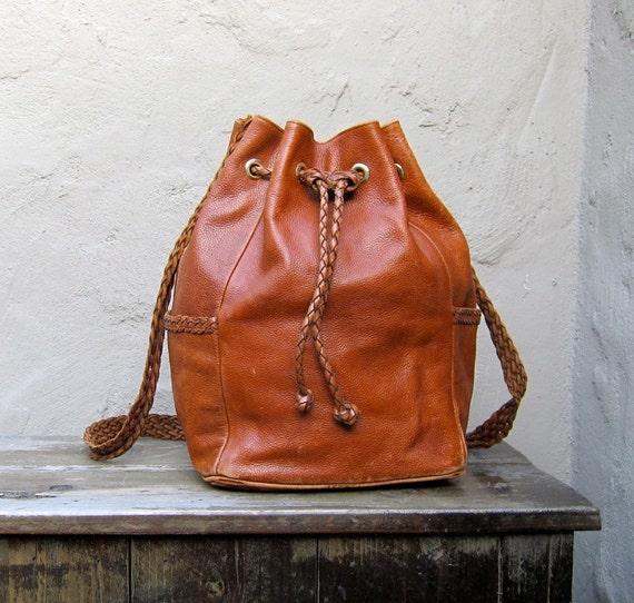 Vintage Tan Leather Braided Drawstring Bucket Bag