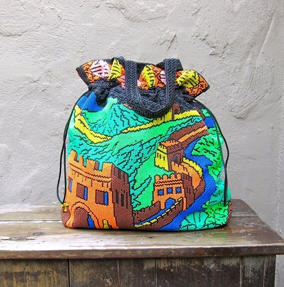 Vintage Colorful Plastic Beaded Medium Drawstring Pouch Tote