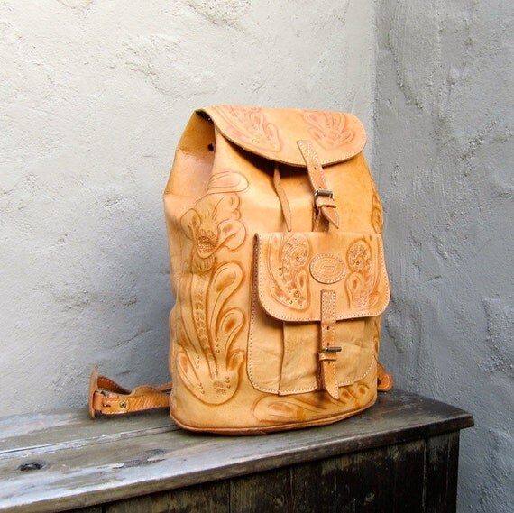 Vintage Hand Made Tooled Distressed Tan Leather Large Rucksack Backpack