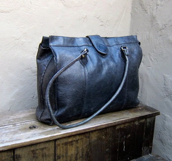 Vintage Large Distressed Black Leather Travel Tote