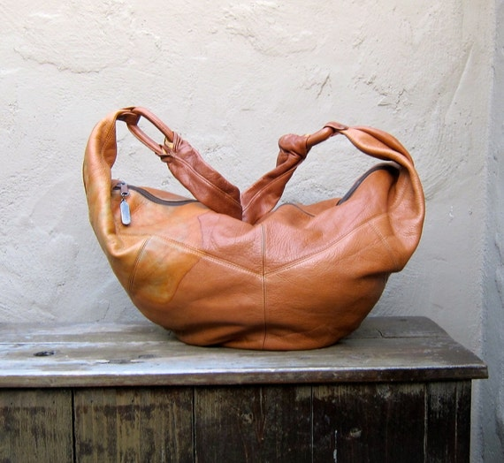 Vintage Large Distressed Tan Hobo Buttery Soft Leather Purse