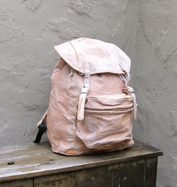Vintage Tan Very Distressed Leather Rucksack Backpack