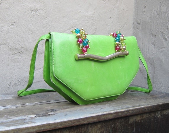 Vintage Lime Green Leather Jeweled Handle Evening Clutch