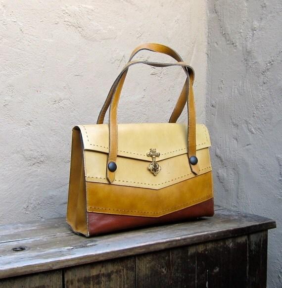 Vintage Striped Leather Handbag Tote w/Decorative Key Closure