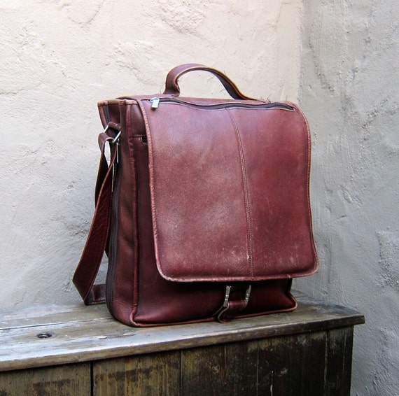 Vintage Large Brown Expandable Leather Satchel Messenger Travel Bag by Wilsons Leather