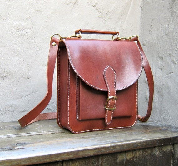 Vintage Cognac Leather Small Satchel Cross Body Bag