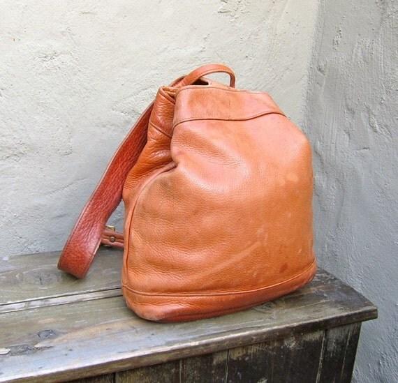 Vintage Distressed Rugged Tan Leather  Knapsack Backpack Purse