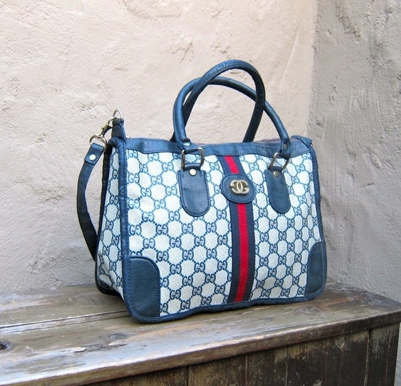 Vintage Faux Gucci Navy Logo Coated Canvas Speedy Style Tote