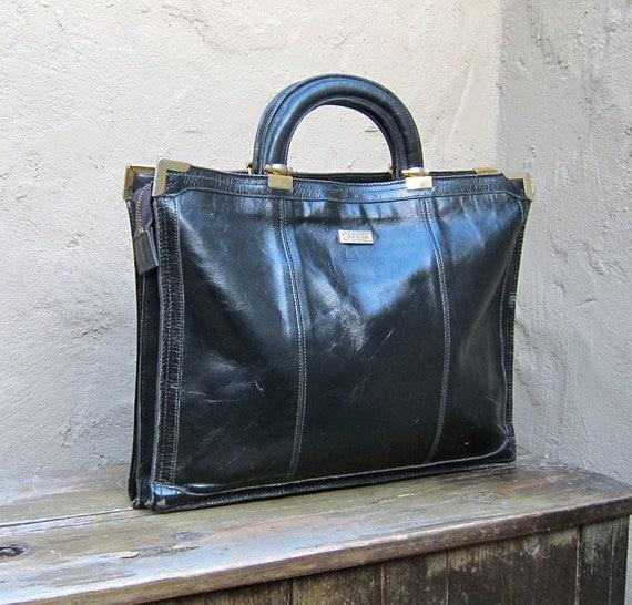 Vintage Glazed Black Leather Briefcase Tote Work Bag
