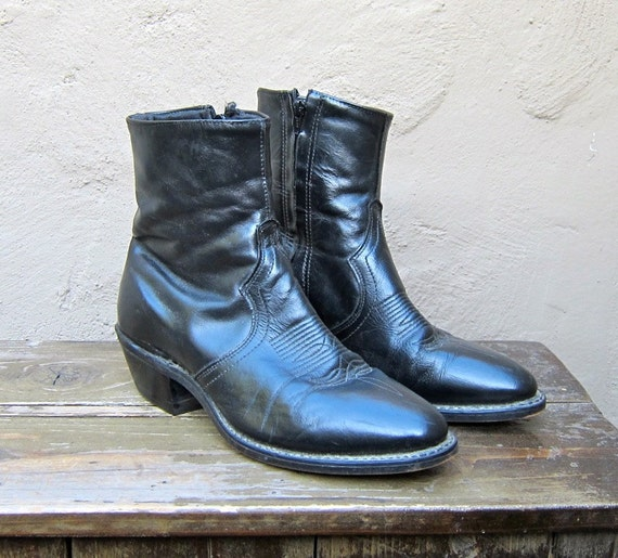 Vintage Black Leather Chelsea Beetle Boots Mens Size 6.5EE, Ladies 9