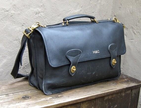 Vintage Large Black Leather Satchel Briefcase Work Bag w/Shoulder Strap
