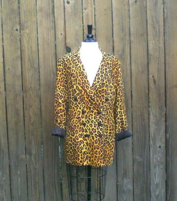 SALE Vintage Double Breasted Leopard Long Boyfriend Blazer/ Mini Dress Size m/l