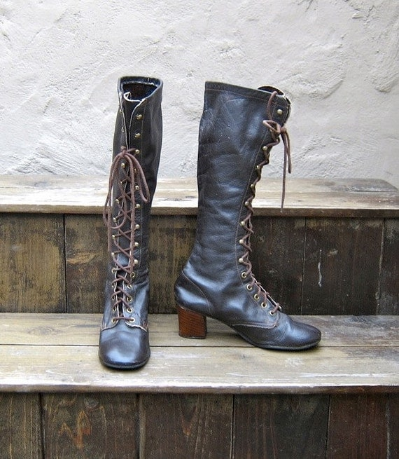 Reserved EC Vintage Chocolate Brown Leather Lace Up Go-Go Boots Ladies Size 6.5-7