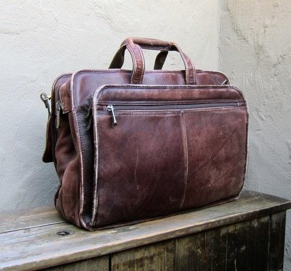 Vintage Distressed Brown Leather Satchel Briefcase Work Bag w/Shoulder Strap