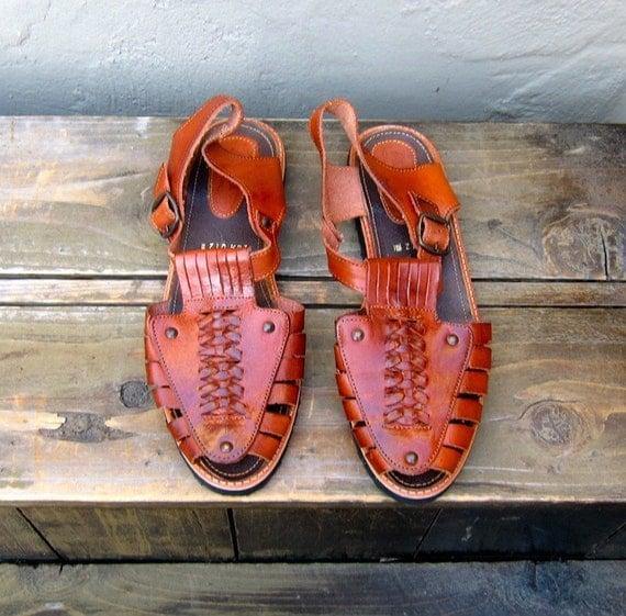 Vintage Cognac Leather Dead stock Huaraches Strappy Sandals Size 26.5 (Ladies 10, Mens 8.5)