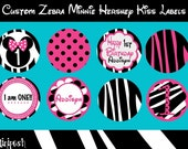 Listing for Haley- Custom Zebra and Hot Pink Minnie Mouse Mix and Match Hershey Kiss Labels and other products
