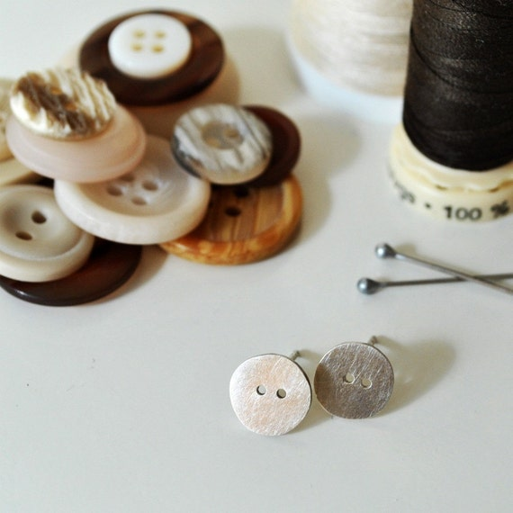 Circle Button Stud Earrings - Made to order