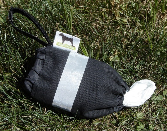 Reflective Poop Bag Holder - Eco Friendly, Reuse Your Shopping Bags - Black