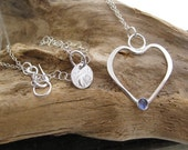 "Silver Heart  Necklace, Iolite Gemstone, 17"" Sterling Silver Chain"