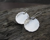 Round Dangle Earrings Sterling Silver Handforged Earwires