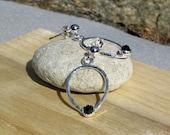 Silver Earrings, Hammered Teardrop, Rose Cut Onyx Gemstones, Sterling Silver Posts