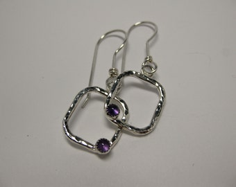 Hammered Square Earrings, Amethyst Gemstone, February Birthstone, Sterling Silver, Handfordged Earwires