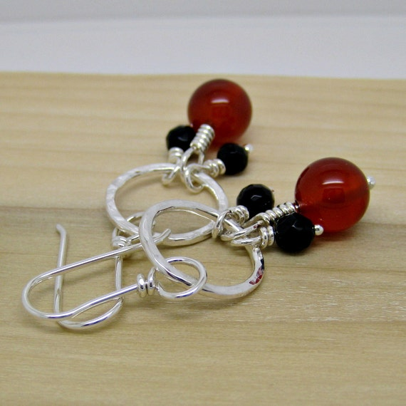 Ready to Ship-Sterling Silver Dangle Earrings Carnelian Black Onyx Hammered Circle Hand Forged Earwires