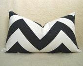 Grande Chevron Print Decorative Designer Pillow - Black & White - 12x20 inch - BOTH SIDES - Zig Zag Pillow - Accent Pillow