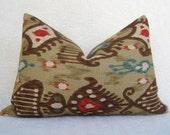 Decorative Designer Ikat Khanjali Linen Lumbar Pillow - Brown Red Teal - 12x18 inch - IKAT Pillow - Decorative Pillow - Accent Pillow