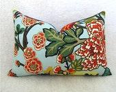 Chiang Mai Dragon Pillow - F. Schumacher - 8x18 inch - Aquamarine - Red - Green - Navy - Gold - Designer Fabric - Chinoiserie