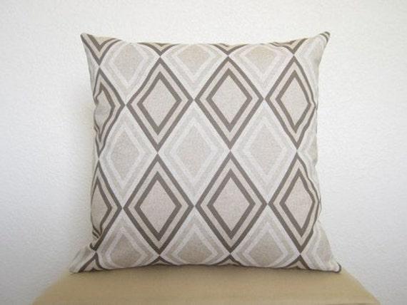 SALE - Modern Diamonds Designer Pillow / 18 inch / Designer Pillow / Natural Tones Linen / Decorative Pillow