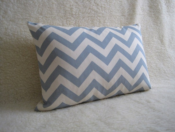 Zig Zag Designer Pillow / Sky Blue / 12x18 inch / zipper enclosure